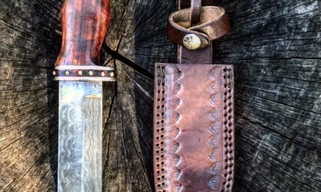 Damascus Steel Steel And Rosewood Hunting Knife